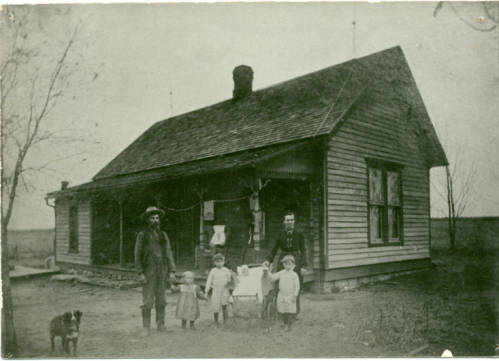 Photograph of the Mike Decker family home, built in 1898, following the land run, located near Newkirk, Oklahoma.