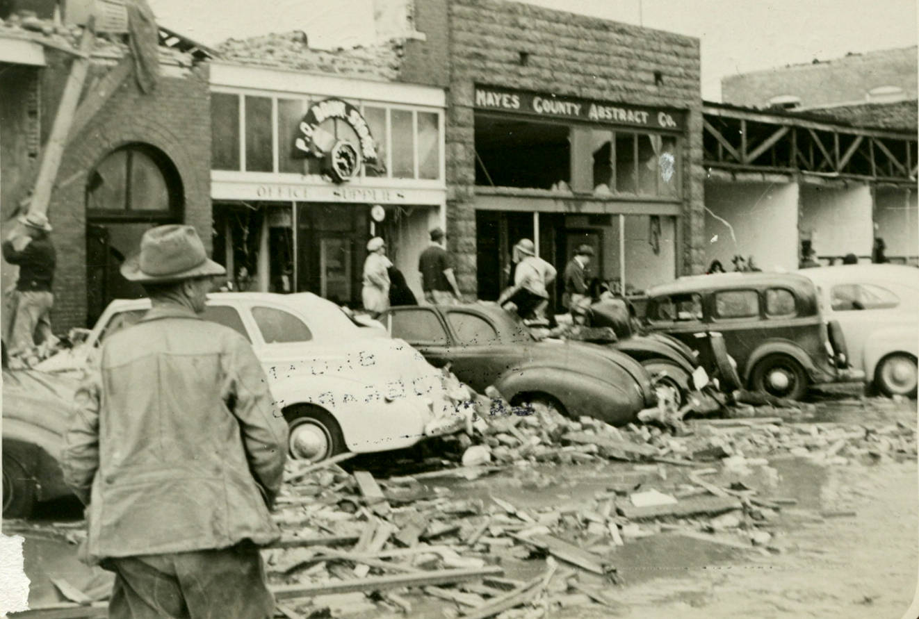Damage to businesses after the April 27, 1942, tornado went through downtown Pryor