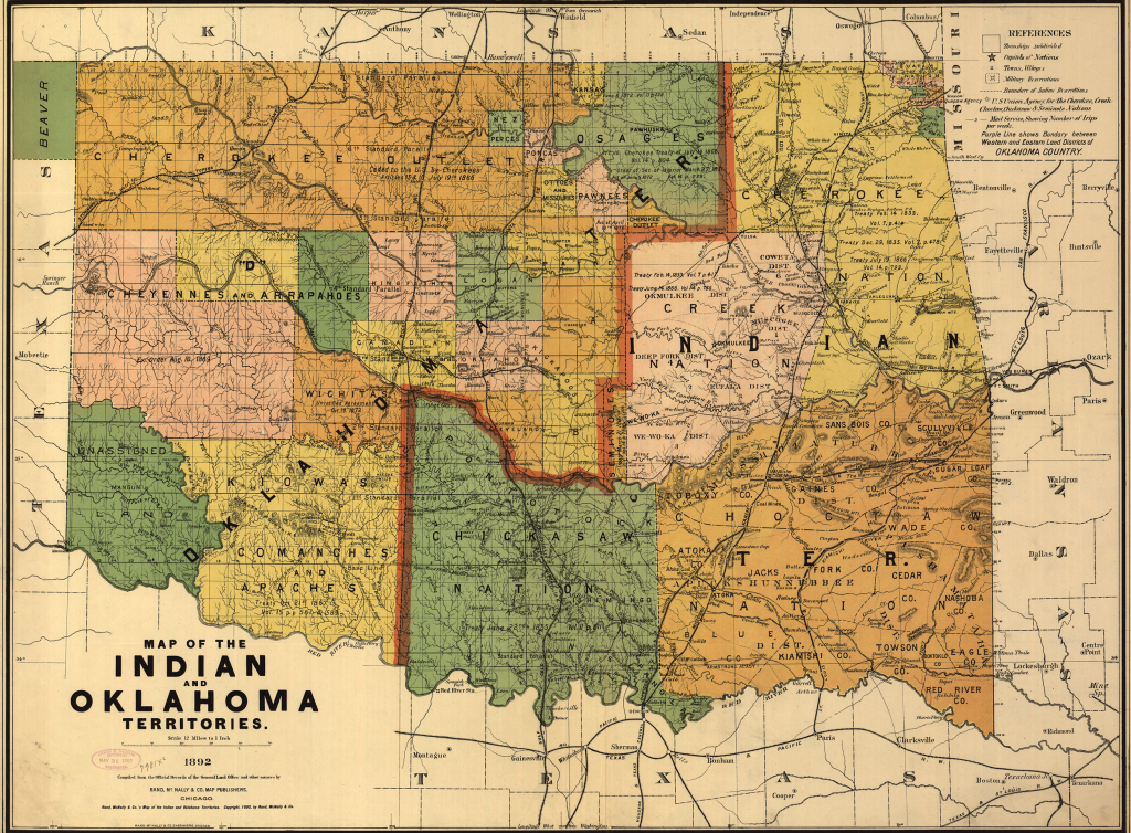 Map of the Indian and Oklahoma Territories, 1892