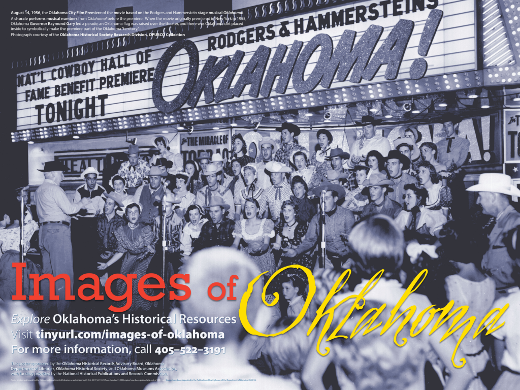A chorale performing songs from Oklahoma! at the Oklahoma City premiere of the film in 1956.