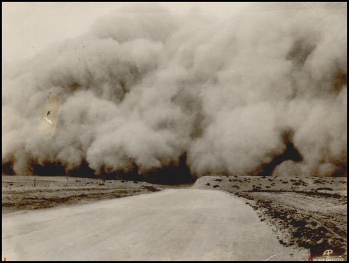 """The blackest and worst of the many Dust Storms of recent weeks brought in on the rolling cloud that bore down on the Oklahoma panhandle and neighboring states late Sunday afternoon,"" Daily Oklahoman, April 15, 1935."