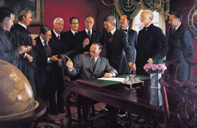 President Teddy Roosevelt Signing Statehood Proclamation by Mike Wimmer