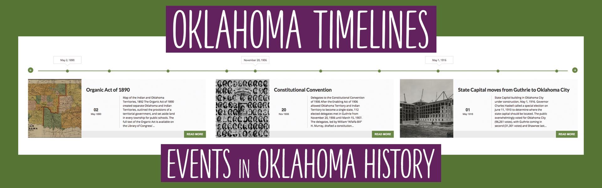 View Oklahoma Timelines
