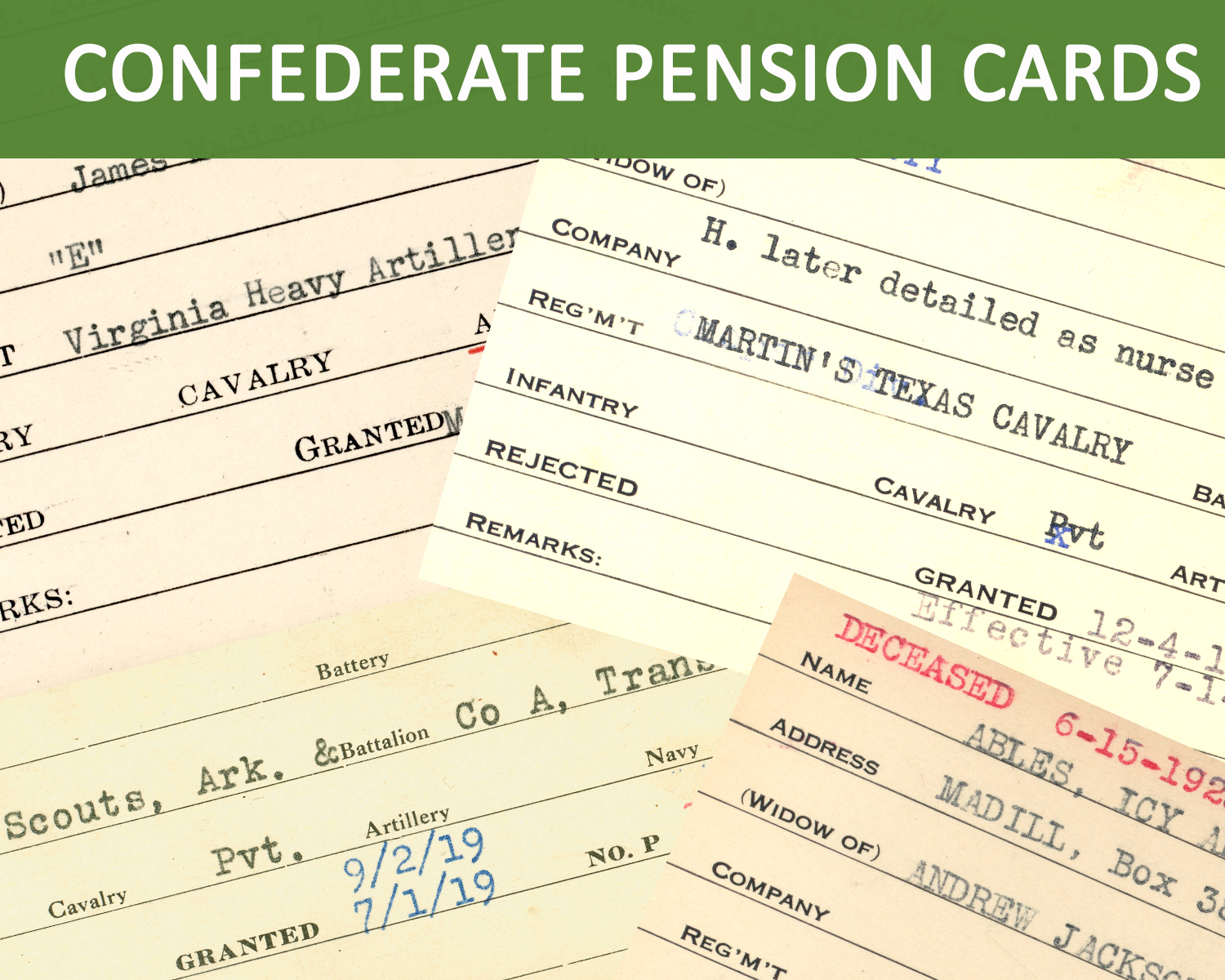 View Confederate Pension Index cards