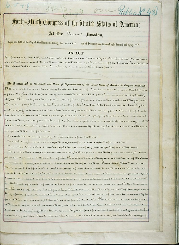 First page of Dawes Act