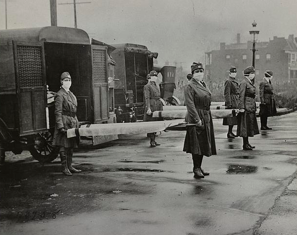 St. Louis Red Cross Motor Corps on duty during the Influenza epidemic