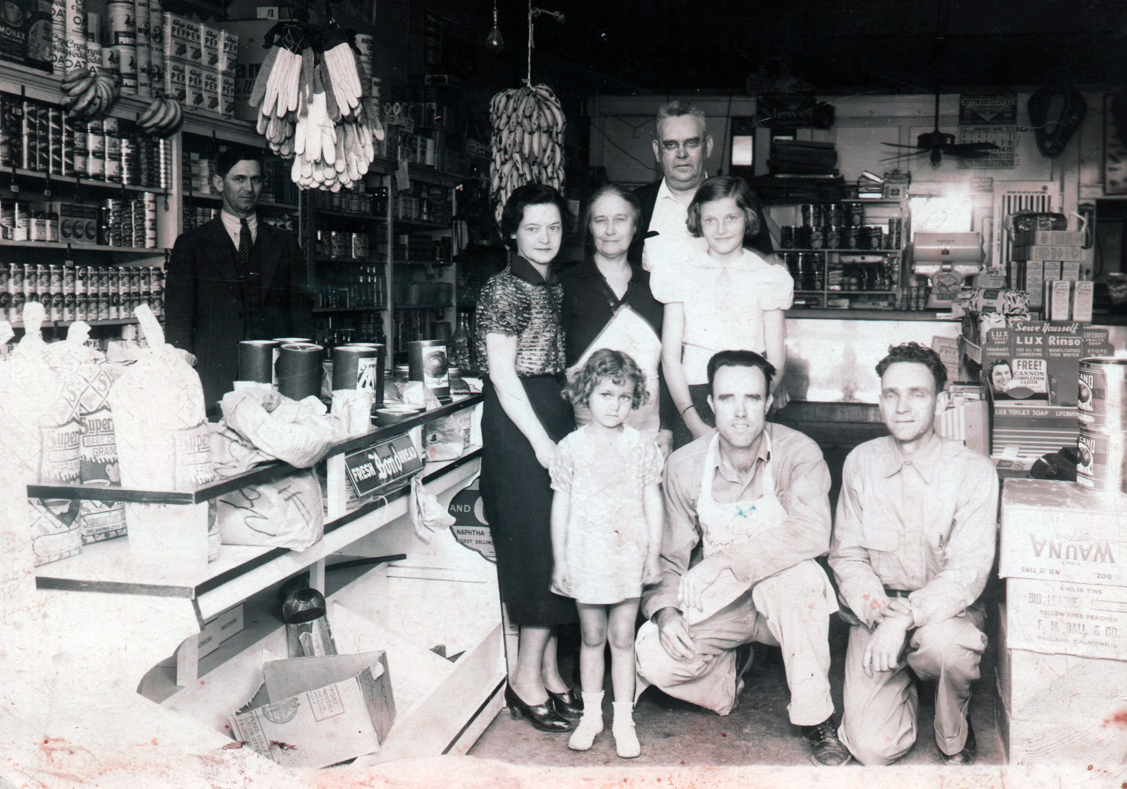 Jim Trout Grocery Store, in Drumright, Oklahoma, with the Trout and Jones' family members