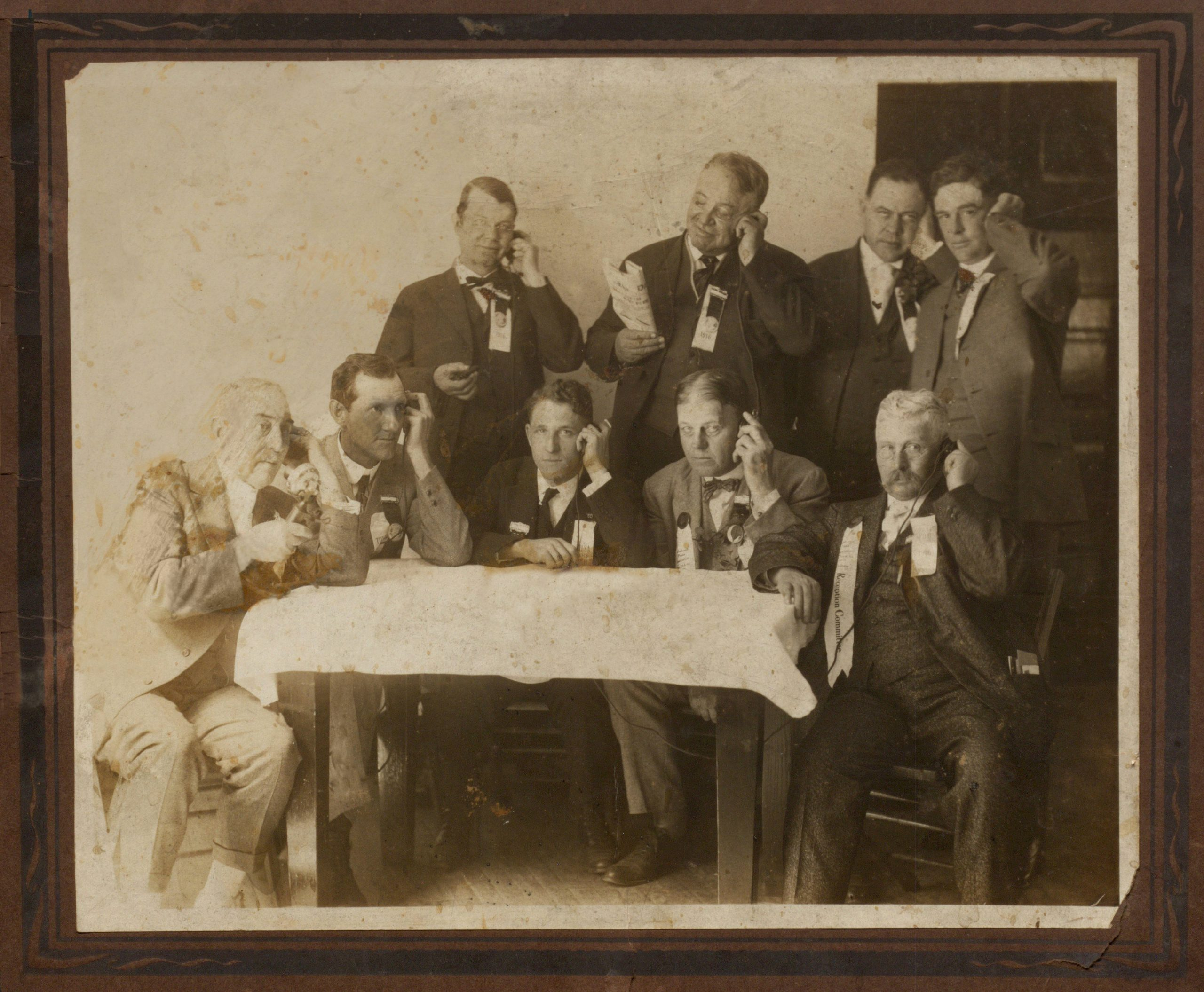 Photograph of the Oklahoma Press Association making the first long distance telephone call from Oklahoma to San Francisco, from Guthrie, Oklahoma, May 8, 1915